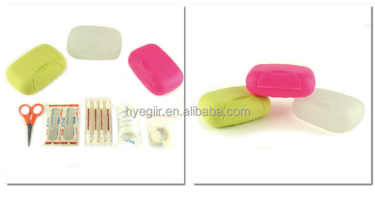 High quality first-aid kit in small plastic pack with multiple color choices and item selection