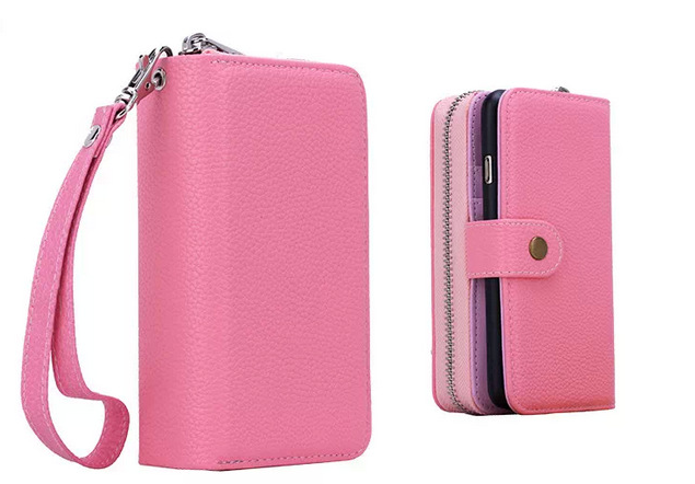 Zipper leather wallet case mobile phone PU leather case stand card slot for iphone6 plus 5S