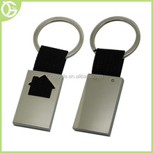 Metal keyring with ribbon with house shape design inside