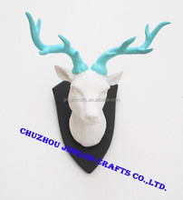 white resin deer head crafts for Christmas gifts&crafts artificial der antlers animal wall mounts