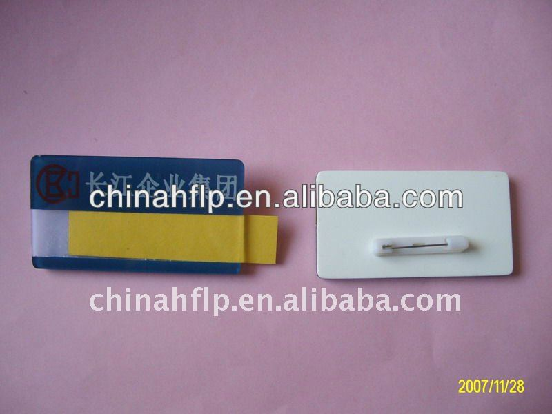 plastic name badge with pin