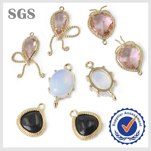 Wholesale New york Imitation zircon Faceted bezel gemstone pendant connector for necklace and earring making