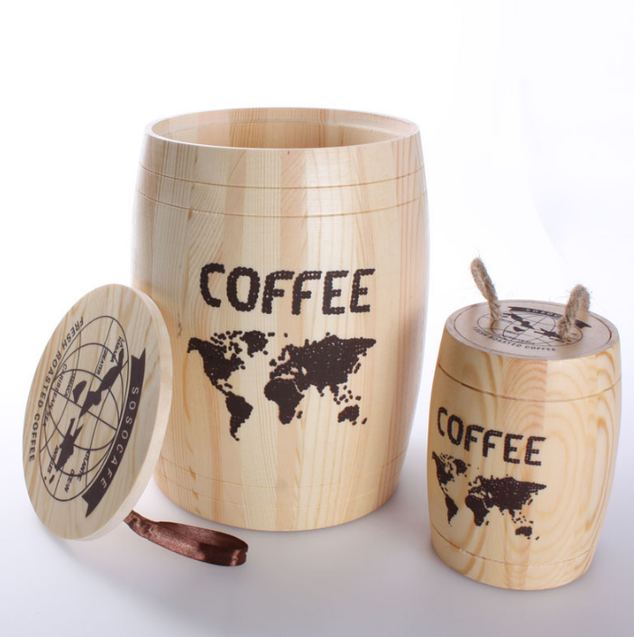 RTS 250g coffee storage wooden barrel with logo