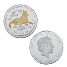 WR Gold Dog Silver Plated Commemorative Antiqu Coin with Coin Box Year of the Dog Silver Coin for New Year Gift