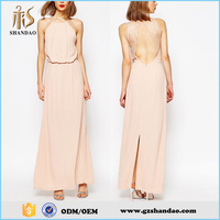 2016 Guangzhou Shandao Fashion Beach Design Casual Summer Long Spaghetti Strap Lace Back Chiffon All Types of Ladies Dresses