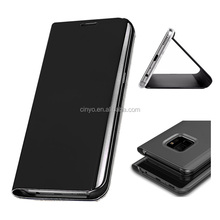for samsung galaxy s9 cover smart clear view stand mirror flip leather case