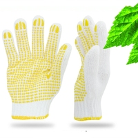 10 gauge bleached white polyester blended working gloves with PVC dots on palm