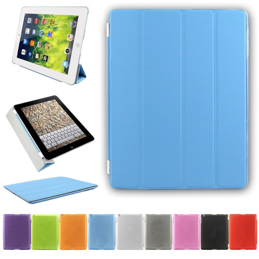 2 in 1 Ultra Thin Magnetic Smart Cover (Wake/Sleep Function) & Translucent Back Case for iPad 2/iPad3/ 4 ( blue)
