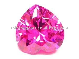 pink heart shaped cz gemstone