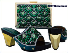 Hot sell elegant style ladies rhinestones design shoes and matching bags from China MS3201Atrovirens