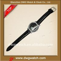 Mens Black Dial Quartz Wrist Watch black leather Band