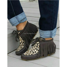 Hot Selling Personalized Women Tassel Leather Leopard Ankle Boot