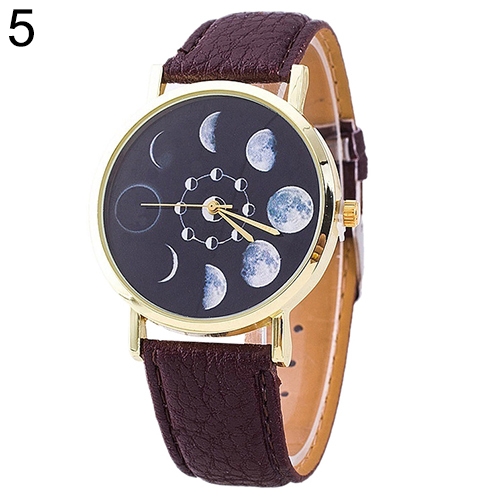 2016 New Arrival Unisex Moon Phase Astronomy Space Watch Faux Leather Band Quartz Wrist Watch