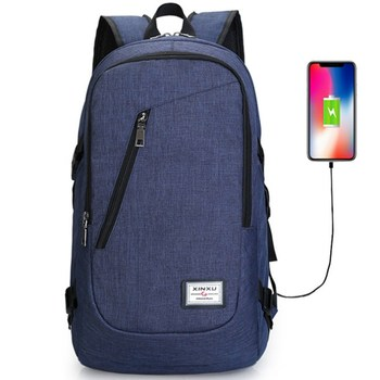2018 newest backpack laptop blue anti-theft  business travel bag with usb charger