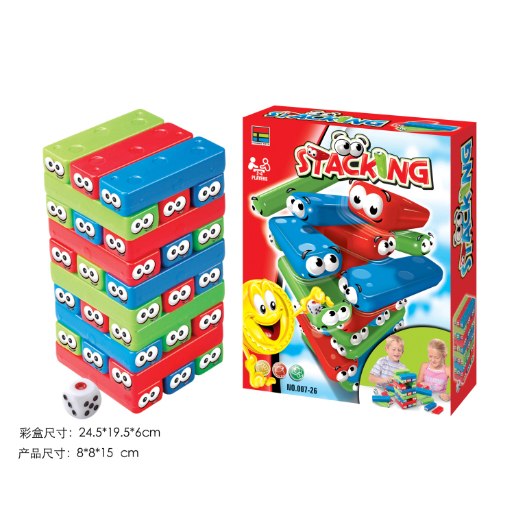 Funny Colorful ABS Plastic Baby Block Tower Toy Classic Tumbling <strong>Game</strong>