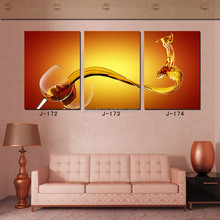 Art Supply Picture to Painting Online 3 Piece Wine Dancing Glass Bar Decoration Photo Art Prints