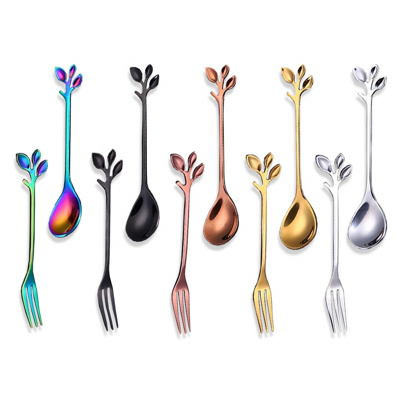 Elegent leaf cake fork and spoon, colorful small stainless steel cake fork spoon set