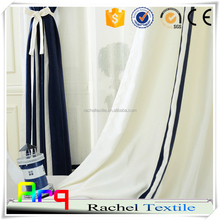 Modern light curtain home/ hotel use Piece dyed white and blue color linen cotton blend design fabric for