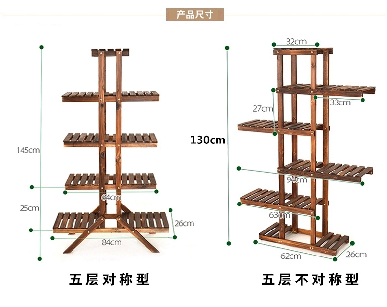 3/4/5/6 Tiers Wood Bamboo Flower Pot Shelf Rack Stand