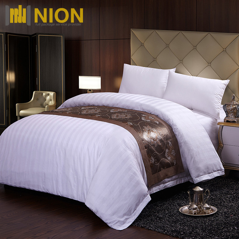 100%Cotton 300TC Sateen 3CM Stripe Bedding Set Duvet Cover Flat sheet Fitted Sheet Pillowcase
