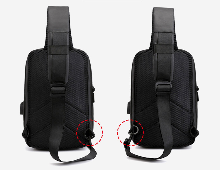 Reflective Waterproof Business shoulder Messenger bags cross body Smart USB charging Sling Chest Bag for men