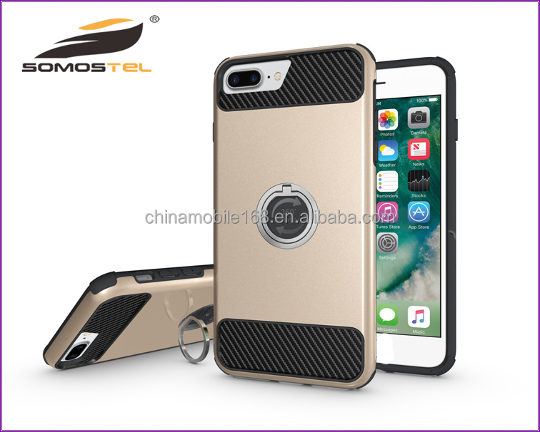 [somostel]New design 3 in 1 Heavy Duty Case with Rotating Ring Design Stand finger ring case for apple iphone 6 china wholesale