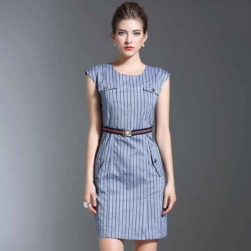 2016 summer cotton short sleeve fashion professional belt grid OL stripe pocket dinner bodycon straight dress for office