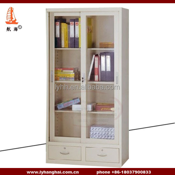Glass Furniture steel and glass shelves vertical filling cabinet Safe and secure heavy duty lockable cabinets