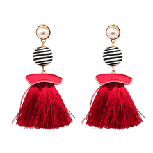 Wholesale Beaded Jewelry Woman Long Silk Thread Crystal Bohemian Boho Tassel Earring