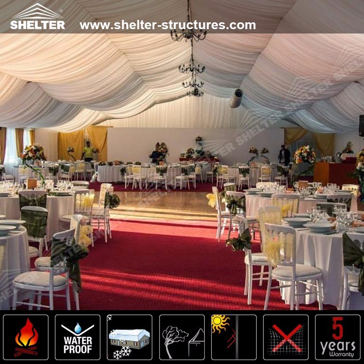 40m X 100m Indian Big Wedding Tents With Drape Ceiling For