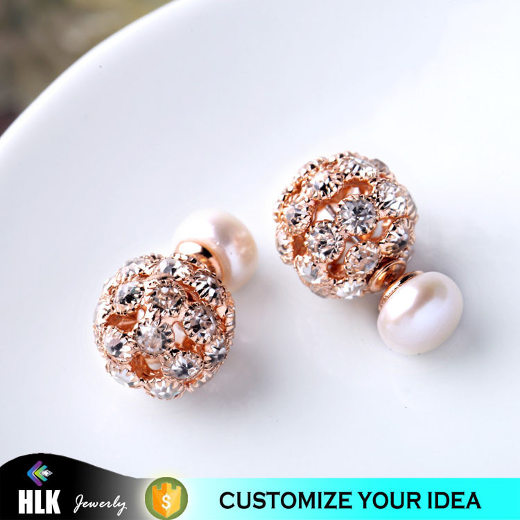 New Item Best Selling red color round shape Dazzling Crystal Ball Double Sided stud Earrings high quality popular trendy jewelry