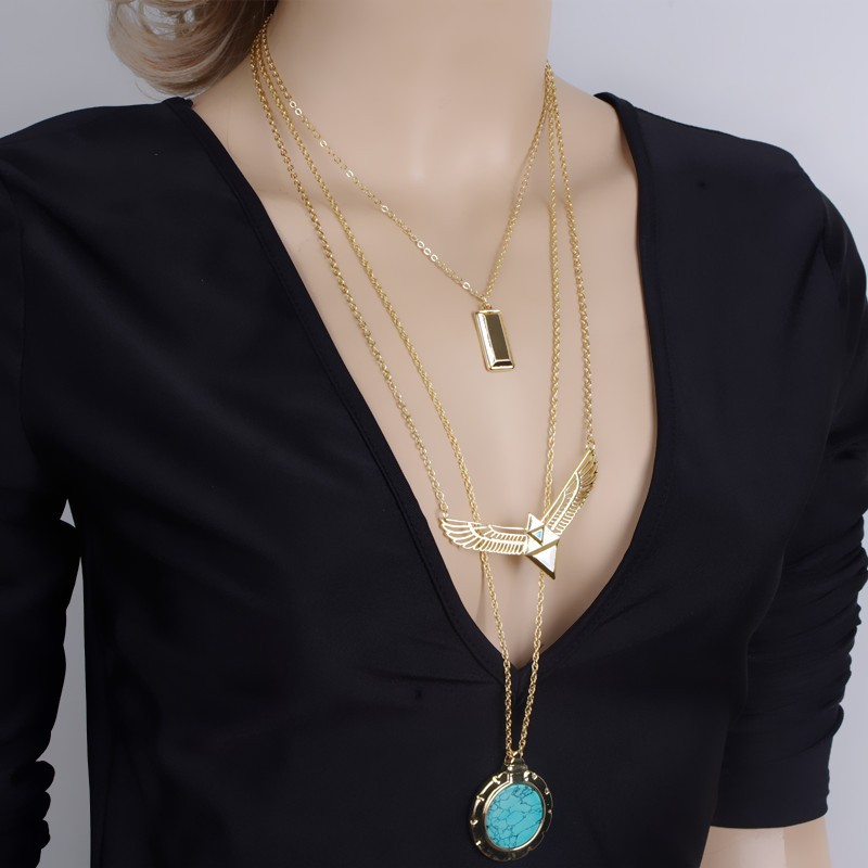 Golden Tone Layered Chain Necklace Wholesale