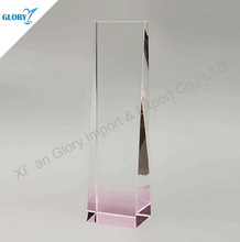 Noble Pink Blank Trophy Clear Glass Laser Engraved Plaques