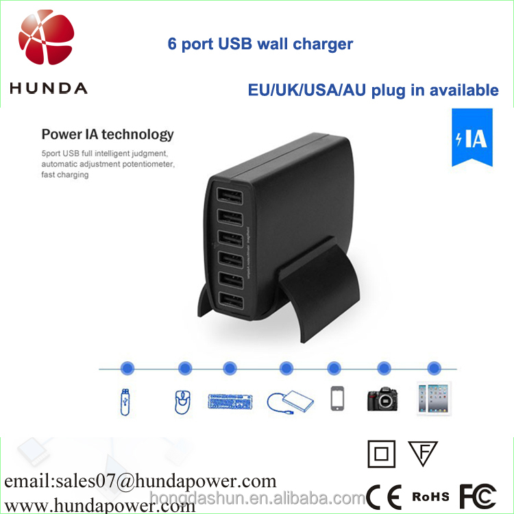 60watt 12amp Multiple travel usb charger, universal multi pin usb charger for cell phone/tablet pc