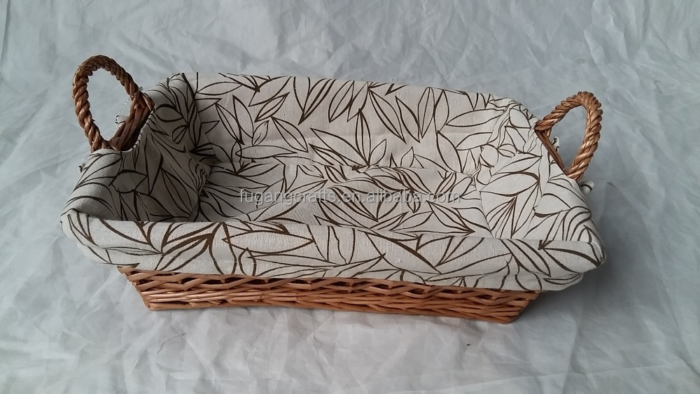 rectangle willow tray with liners, willow bread basket