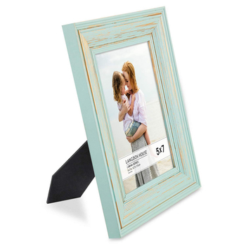 Wholesale set of 2 eggshell blue gold accents 5x7 real wood picture frames