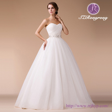 Strappless Pleated Bodice Crystal Beaded Sash A-line Tull Sweetheart Bling Wedding Dress Z96755