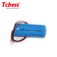 Li-Ion Type ICR14500 battery with wires, 3,7V long cycle time rechargeable battery
