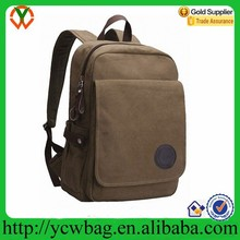 Canvas college rucksack Vintage men backpack leather