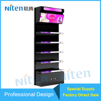 Boutique furniture Tiered display stand makeup case with lights
