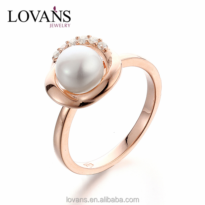 Rings Jewelry Rose Gold Plated Freshwater Pearl Engagement Ring SRK009R