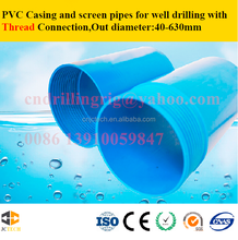 Water well PVC casing and screen pipes with thread connection made in China