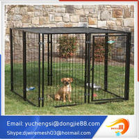 2015 hot sale large Outdoor Black powder coated welded wire mesh Dog Kennels