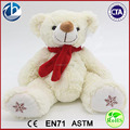 Christmas Plush Teddy Bear / Christmas Plush Bear Toy / White With Red Scarf Plush Teddy Bear