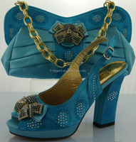 TY0076 Tur blue lady's top grade woman brand pretty women shoe and bag set