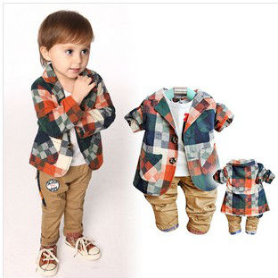 D90121K BOYS PLAID BLAZER AND TROUSERS