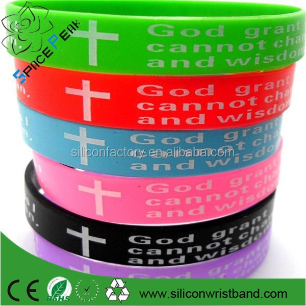 wholesale Serenity etch Bible Prayer Rubber Cross silicone bracelet Jewelry