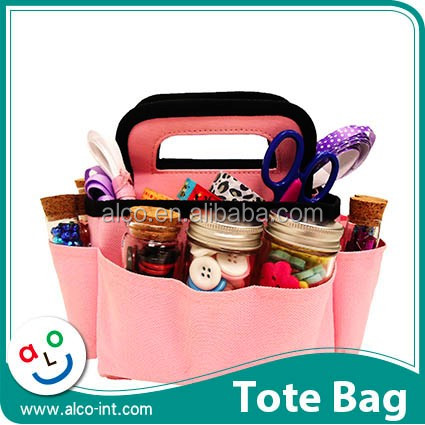 600D Polyester solid pink mini craft tote bag for scrapbook storage