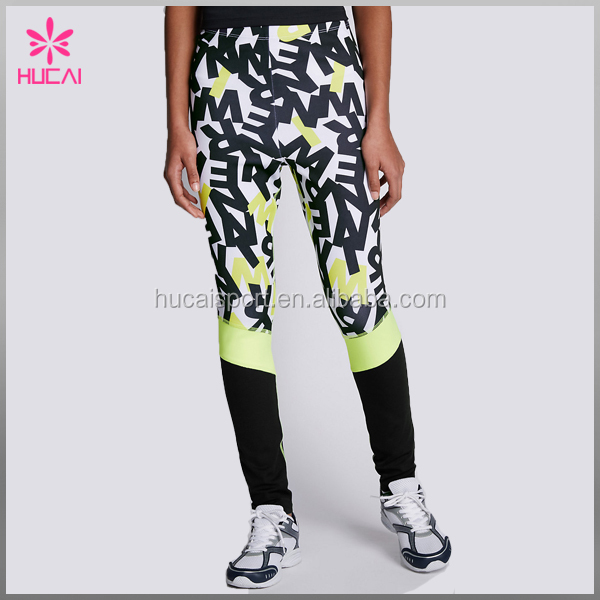Dry fit sublimation pattern running sportswear wholesale sports legging tights for women