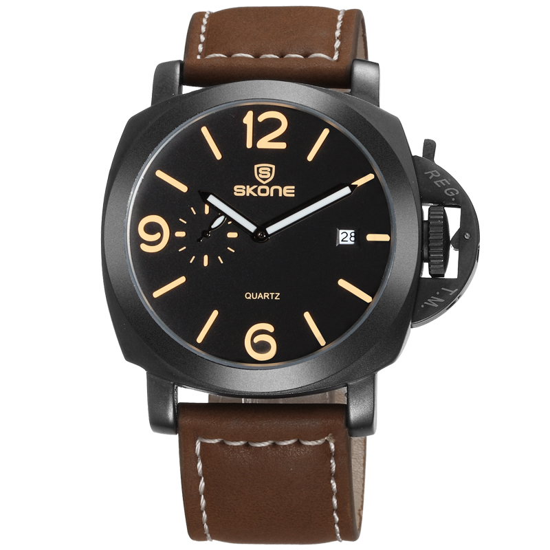 SKNOE 9408 Alibaba Supplier Top Quality OEM Casual Watch Men Hand Watch with Leather Strap